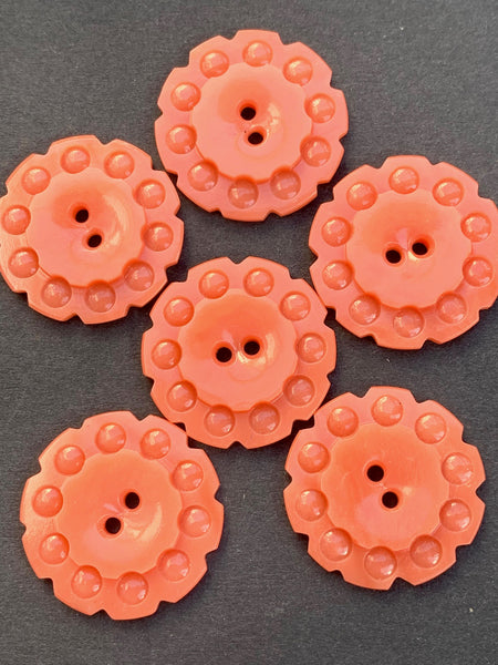 Peach coloured vintage Casein Buttons - 1.7cm or 2.2cm, Lots of 6 or Sheet of 24