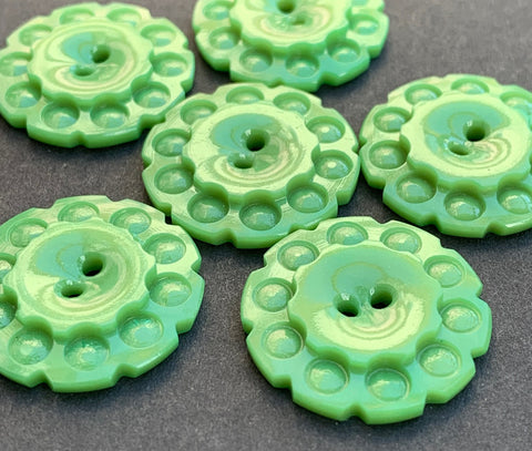 2.2cm Sea Green 1930s Casein Buttons - 6 of them