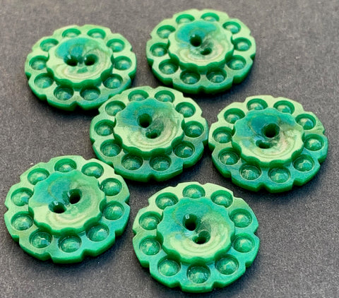 1.7cm or 2.2cm Jade Green 1930s Casein Buttons - 6 of them