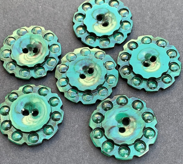 6 Forest Green 1930s Casein Buttons  - 2.2cm