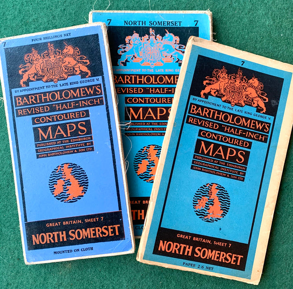 1940s, 50s Maps of North Somerset Sheet 7. Incl. Bristol, Cardiff, Devizes