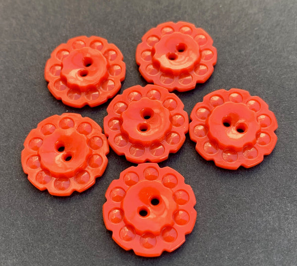 6 Soft Red vintage Casein Buttons - 1.7cm or 2.2cm