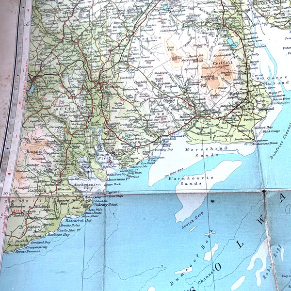 The Solway 1940s & 1950s Cloth mounted Maps Sheet 38. Incl. Carlisle, Penrith, Dumfries.