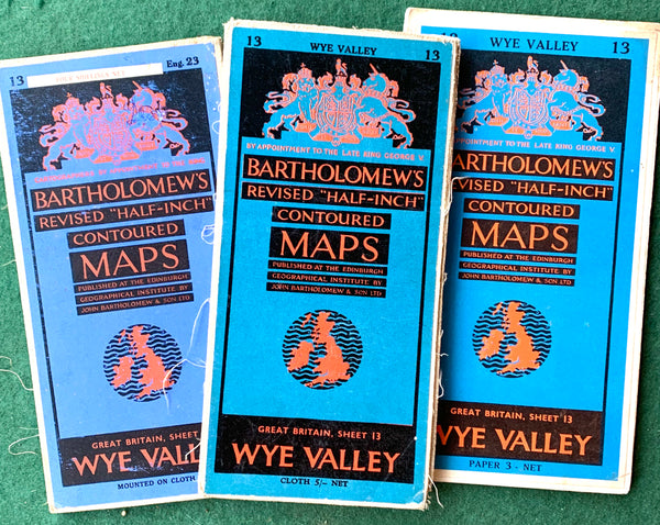 Detailed 1940s to 60s Maps of Wye Valley incl. Cheltenham, Gloucester, Stroud.