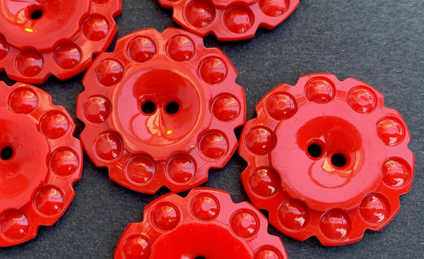 6 Bright Red 1930s Casein Buttons  - 2.2cm