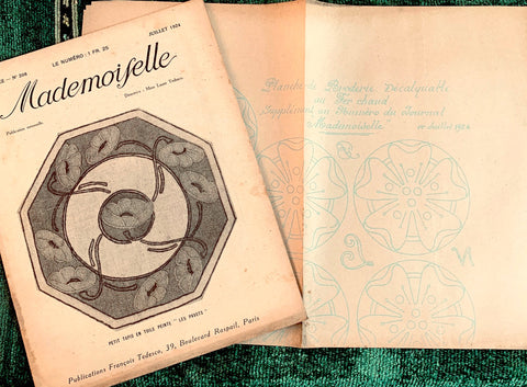 "1920s Crafts, Fashion and Interiors in July 1924 French Review ""Mademoiselle"" incl Embroidery Pattern"