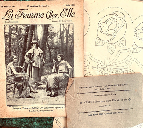 "July 1922 French Review ""La Femme Chez Elle"" incl Lots of 1920s Fashion and Craft Patterns"