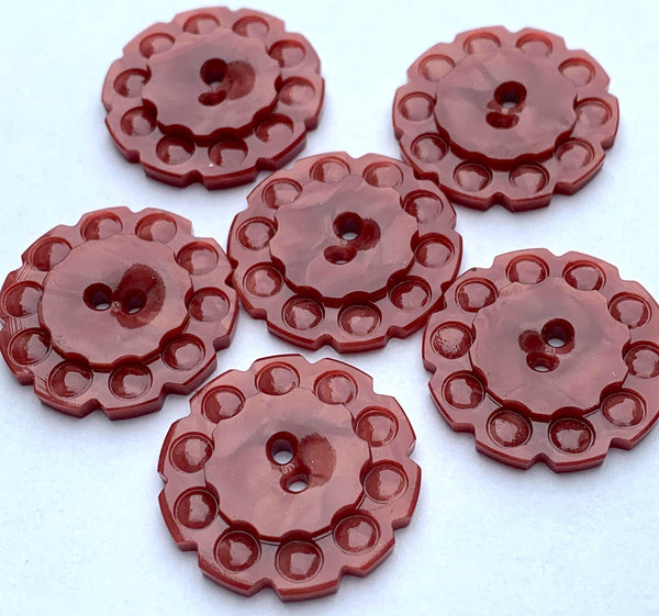 Sangria coloured vintage Casein Buttons - 1.7cm or 2.2cm, Lots of 6 or Sheet of 24