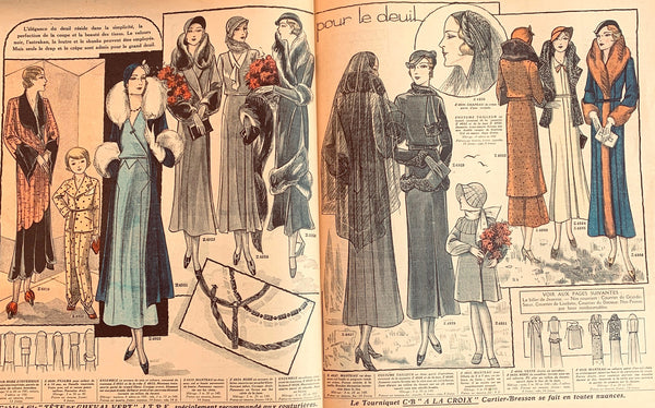 1930s Mourning Outfits in November 1931 French Fashion Paper Le Petit Echo de la Mode