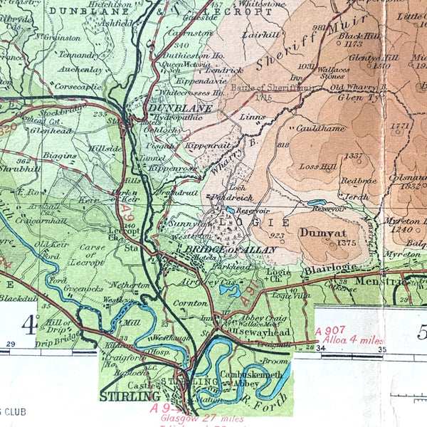 1930s Map of Perthshire - Sheet 12 Bartholomew's Half Inch to mile