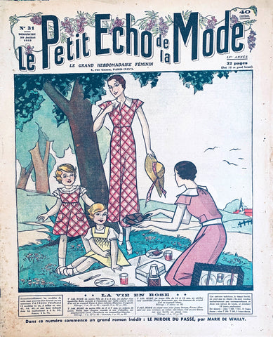 Summer Picnic on Cover of July 1933 French Fashion Paper Le Petit Echo de la Mode
