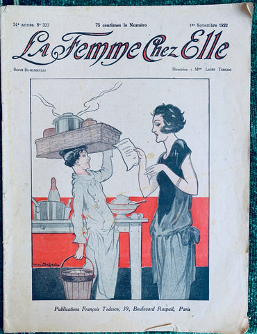 November 1923 French La Femme Chez Elle incl Lots of 1920s Fashion.