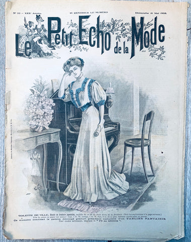 Edwardian Wedding Dress in May 1908 French Le Petit Echo de la Mode