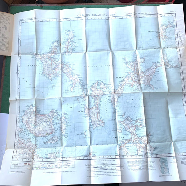 1940s One Inch ORDNANCE SURVEY Map of ORKNEY ISLANDS (North)