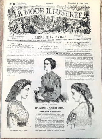 April 1866 French Fashion Paper La Mode Illustree, Wedding Dress inside.