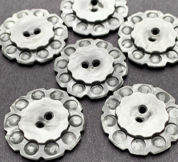 6 Shimmery Pewter Grey 1930s  Buttons  - 2.2cm or 1.7cm