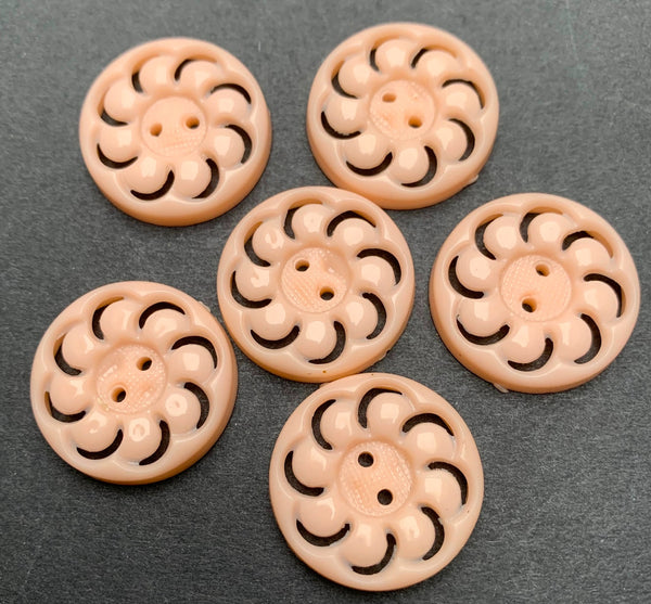 Vintage French Pale Pink 2.3cm or 1.8cm Swirl Buttons - Lots of 6, 12 or 24