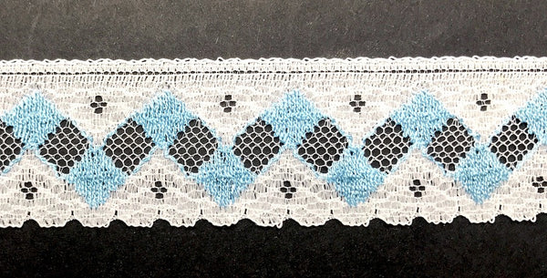 12yds Striking Vintage Blue + White Trim Made in England