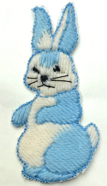 Rather Worried Vintage Blue Rabbit 5.5cm Applique/ Patch
