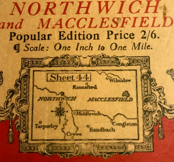 "1930s ORDNANCE SURVEY Contoured Road Map of Northwich and Macclesfield 1"" to 1 Mile"