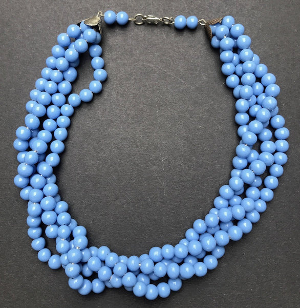 Lovely Vintage Cornflower Blue Glass Bead 4 strand Necklace