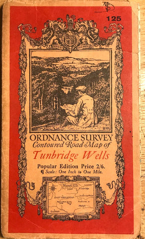 "1920s ORDNANCE SURVEY Contoured Road Map of TUNBRIDGE WELLS 1"" to 1 Mile"
