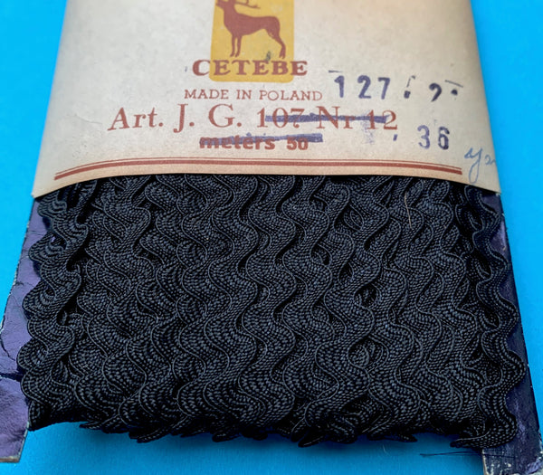 36yds Vintage BLACK 5mm Ric Rac - Made in Poland