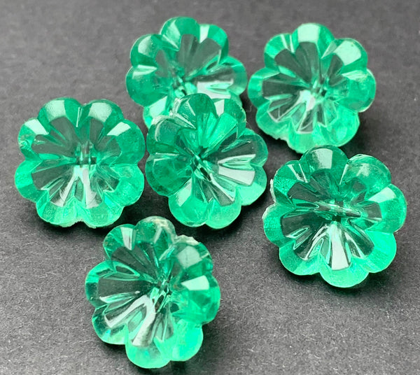 6 Shimmery Turquoise Green Vintage Flower Buttons -1.2cm wide