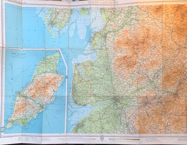 1940s & 1950s Cloth Mounted Maps of North Lancashire Sheet 31. Incl. isle of Man, Preston, Blackpool, Rochdale, Southport.