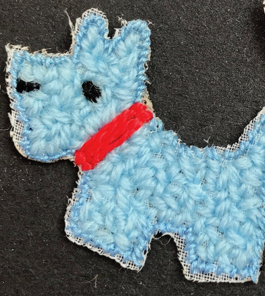 Vintage 3cm Blue Scottie Dog Highland Terrier Applique