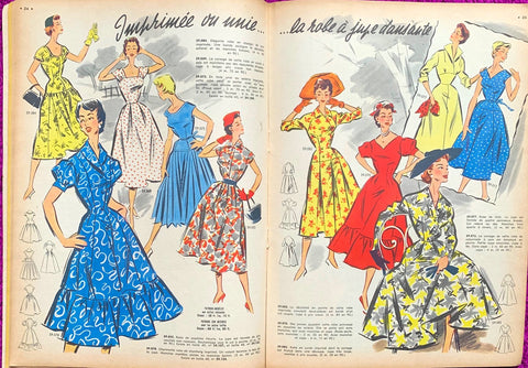 Colourful Fashion Illustrations in May 1956 French  L'Echo de la Mode