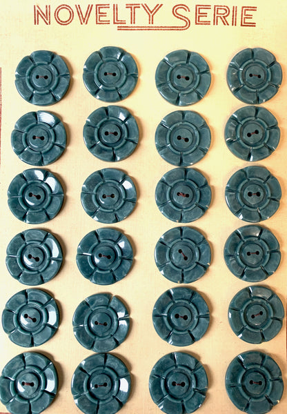 Soft Grey Green 1940s 2.2cm or 1.6cm Vintage Casein Buttons  6 or 24