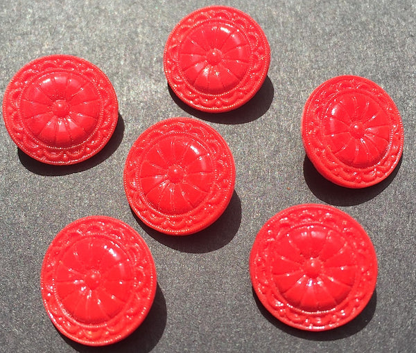 6 Most Satisfying Vintage Red Glass Buttons - 1.4 cm