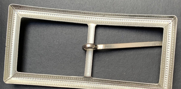 Vintage 1940s Big 9 x 4.2cm Silver Tone Metal Belt Buckle - Old Shop Stock
