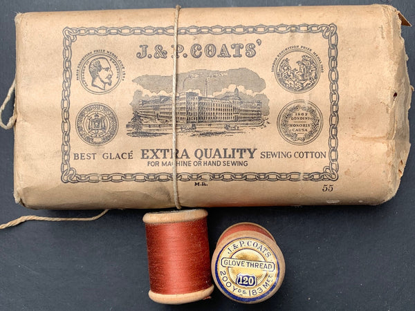 1860s J & P COATS'  Caramel Brown GLOVE THREAD- COLOUR 187- 12 wooden spools