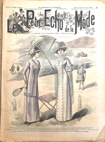 Buttoned Up Edwardian Beachwear in June 1909 French Fashion Paper Le Petit Echo de la Mode
