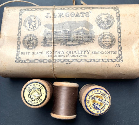 1860s J & P COATS'  Ash Brown GLOVE THREAD- COLOUR 93- 12 wooden spools