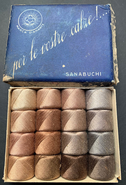 Vintage Italian Sock Darning Kit - Box with 16 spools of Beautiful Soft Colours