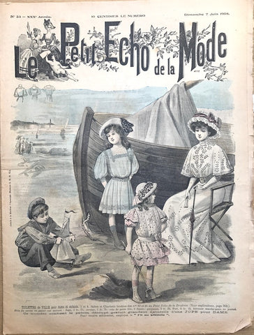 Beautiful but Unsuitable Edwardian Beachwear in June 1908 French Fashion Paper Le Petit Echo de la Mode