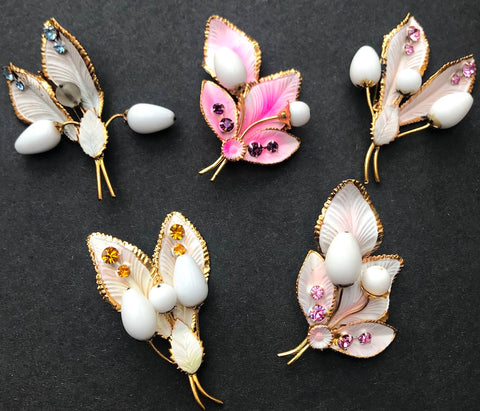 1950s Austrian Sparkly Crystal Gold Edged Leaf and Bud Brooches