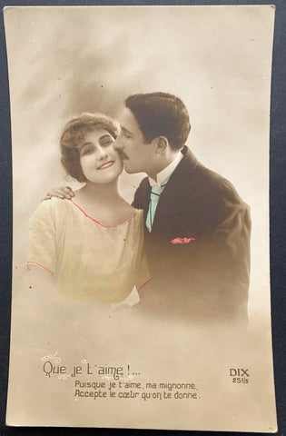 "Heartfelt Plea on 1916 French Postcard ""Accept My Heart"""