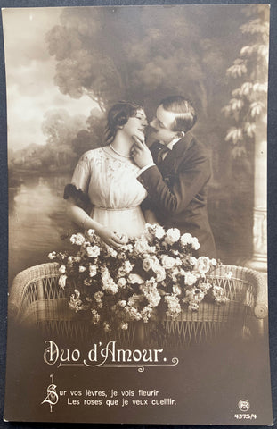 Love Duo on this Highly Romantic Edwardian French Postcard