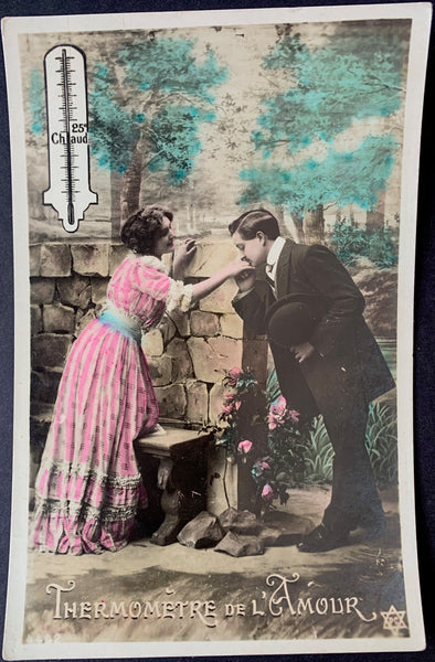 THERMOMETRE DE L'AMOUR Romantic Edwardian French Postcard