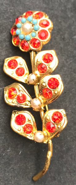 Exuberant Multi Coloured Rhinestone and Faux Pearl 1950s Flower Brooches