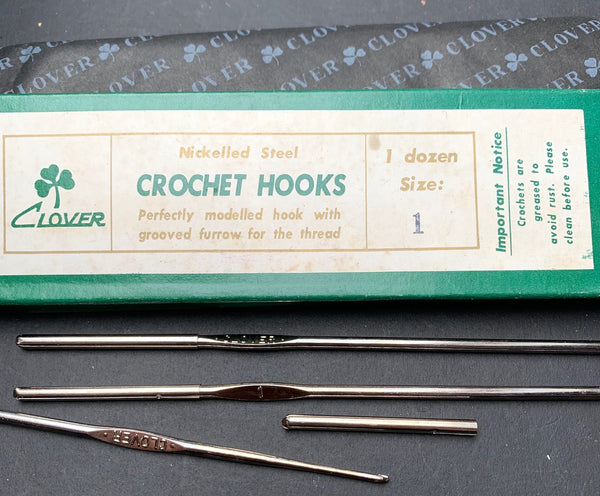 "Vintage Box of 12 ""Nickelled Steel"" Crochet Hooks - size 1"