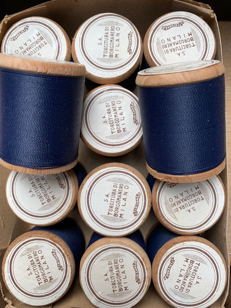 Vintage Italian Box of 12 wooden spools x 100m Navy Blue Cotton Thread