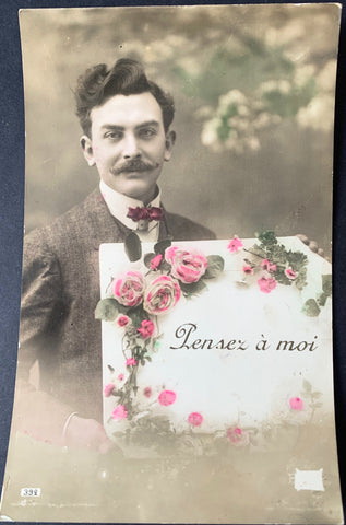 """Think of Me' Not at all Creepy Edwardian French Postcard"