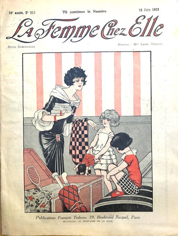 1920s Toy Box on cover of June 1923 French La Femme Chez Elle incl  Embroidery Pattern Sheets