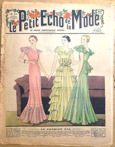"""The First Ball"" November 1933 French Fashion Paper Le Petit Echo de la Mode"