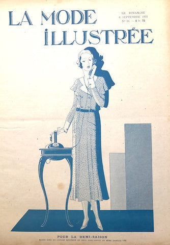 1930s Telephone on Sept 1931 French Fashion Paper La Mode Illustree, Wedding Dress inside.
